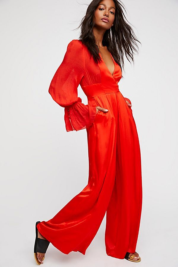168 NWT FREE PEOPLE Sz8 NOT YOUR BABY LONG SLEEVE WIDE LEG SATIN JUMPSUIT RED