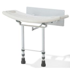 Montado-en-la-pared-Asiento-ducha-plegable-doble-hacia-abajo-silla-Taburete-Banco-Patas-Ajustables