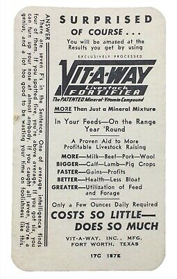 Vintage 1940s 1950s Vit-a-Way Livestock Supplement Advertising Card
