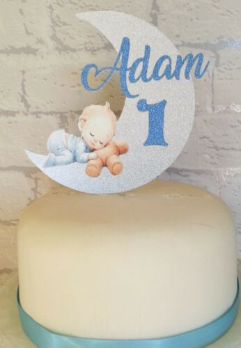 Personalised Baby on moon Cake Glitter Card Topper any Name//Age boy or girl
