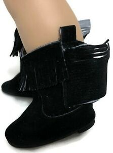 Black Fringed Boots Shoes with Bow for 18 inch American Girl Doll Clothes