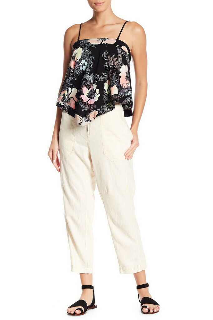Free People Womens Palmer OB812043 Pants Utility Cream Canvas White Size XS