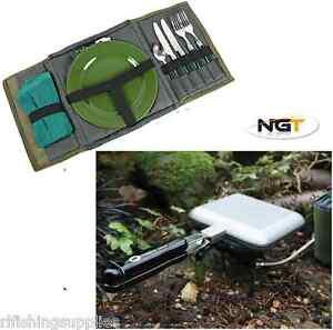 NGT-Bankside-Sandwich-Tostapane-Toast-Maker-con-pesca-della-carpa-set-di-posate-giorno