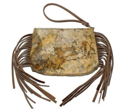 Raviani  Fringe Zipper Wristlet Bag Floral Hair on Leather Acid Wash//MADE IN USA