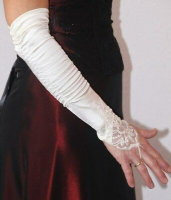 Offizielle Website Fingerlose (braut-) Handschuhe, Cremefarben, Mit Spitze Und Strass, Neuwertig Einen Einzigartigen Nationalen Stil Haben