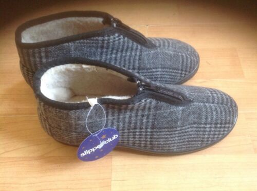 melv Lovely Mens Grey Check Booty Slippers Size 9 New Shop Clearance