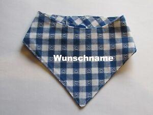Hundehalstuch-Herzkaro-blau-mit-Namen-XXS-Halsumfang-18-21-cm-Handarbeit