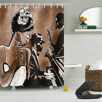 Afro African American Black Girl Shower Curtain Set 180CM High Quality Polyester