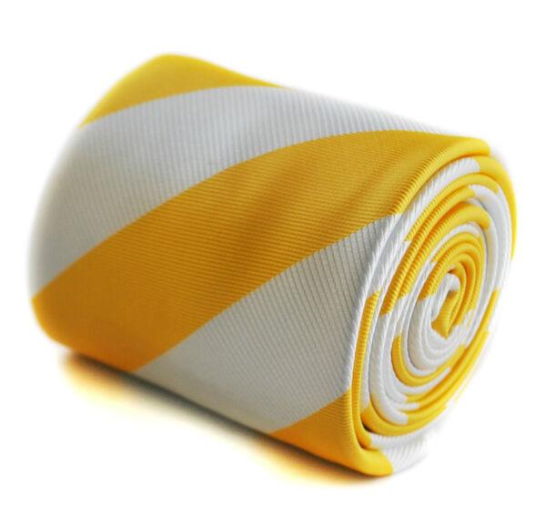 100% De Calidad Frederick Thomas Hombre De Diseño Corbata - Brillante Amarillo Y Blanco - Repp Agradable Al Gusto