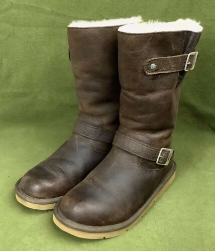 UGG AUS KENSINGTON Leather Sheepskin Lined Harness