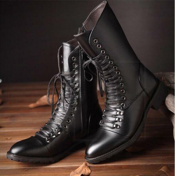 Mens Lether Boots Military Lace Up High Top Combat Motorcycle Boots shoes 2019