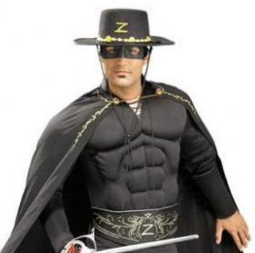 Deluxe Zorro Mens Fancy Dress Movie Mexican Hero Adults Costume Outfit Hat New