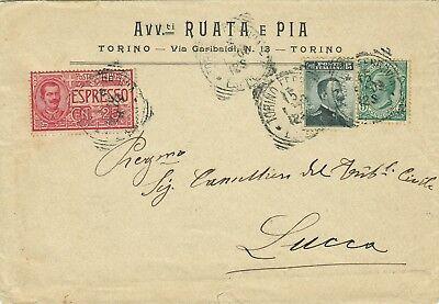 1496-piemonte, Torino, Tondo Riquadrato Per Lucca, Espresso + 15 C.+ 5 C., 1909 Het Speeksel Verversen En Verrijken