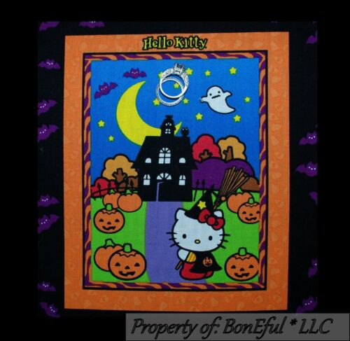 BonEful Fabric Cotton Quilt Block HELLO KITTY Halloween Applique Orange Pumpkin