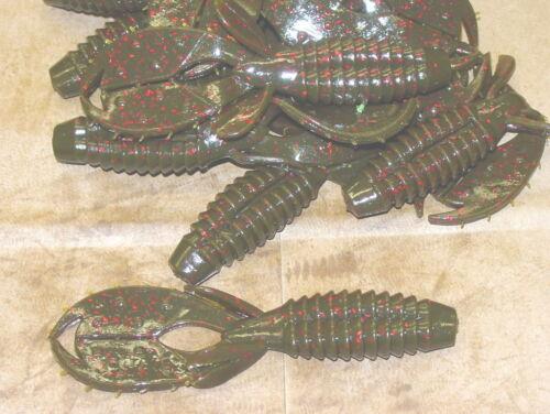 "4/"" Yo Mama Green Pumpkin Red Fleck Bass Plastics Creature Bait 50 count bag worm"