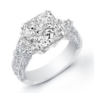 360 Ct Radiant Cut W Trillion Cut 3 Stone Diamond Engagement