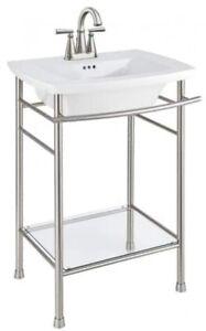 Vintage Pedestal Bathroom Sink Vanity Fireclay Basin Bowl ...