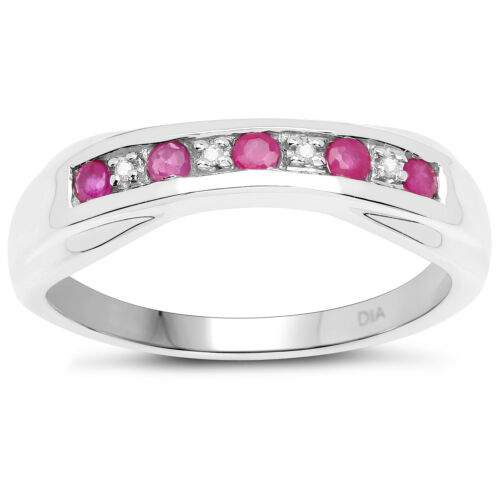 Sterling Silver 6mm width Ruby /& Diamond Channel set Eternity Ring H to W