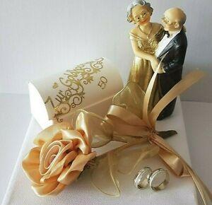Details Zu Geldgeschenk Goldene Hochzeit Brautpaar Rose Sticker Zahl Ringe Gold