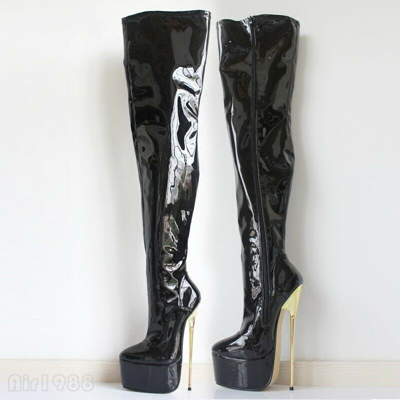 Women's Dance Thigh High Boots 22cm Heels Nightclub Party Party Party Patent Leather Sexy d20b13