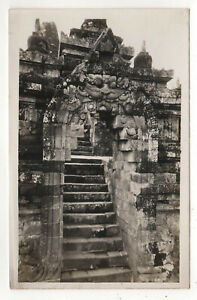BOROBUDUR-Barabudur-INDONESIA-RPPC-RP-Real-Photo-Postcard-TEMPLE-Buddhist-BUDDHA