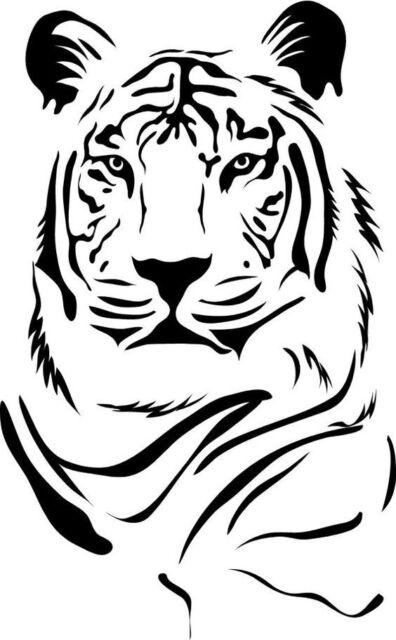 Tiger decal cars boats sticker 2x black 2x white