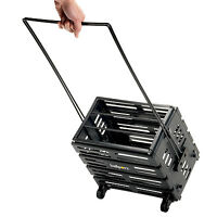 Tennis Ball Box Cart Plastic Carrier Wheels Long Pull Handle Heavy Duty Basket