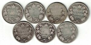 7-X-CANADA-25-CENT-QUARTERS-QUEEN-VICTORIA-STERLING-SILVER-COIN-1872H-1900