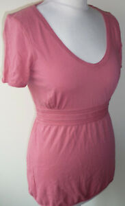 Salmon-Pink-Cotton-Top-Size-10-Cap-Sleeved-Tie-Back-Scoop-Neck-Raw-Edge-Boden