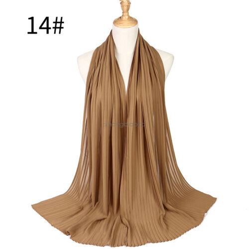 Muslim Women Plain Pleated Chiffon Soft Scarves Headband Shawl Wrap Hijab Scarf