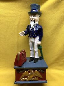 NEW Vintage Uncle Sam Cast Iron Mechanical Coin Bank  Working TOY