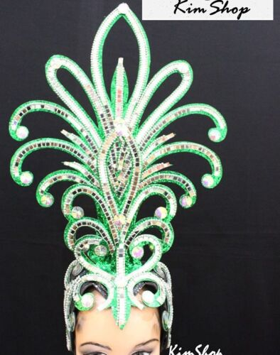 green#02 handmade Showgirl Vegas Cabaret Crown Tiara Crystal Headdres