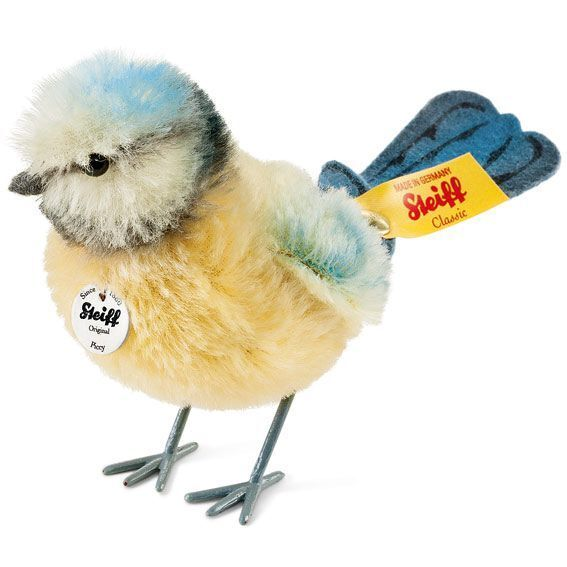 Steiff PICCY BLUE TIT EAN 033360 - 3.9 inches Blue,Yellow, Cream Mohair