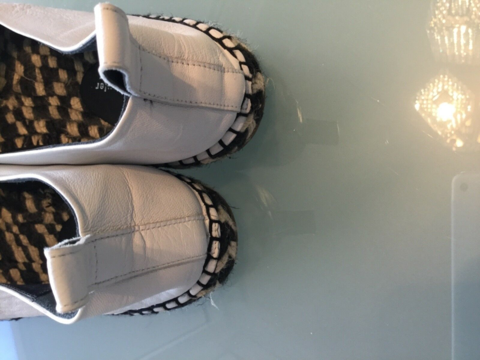 Proenza Schouler Reptile Reptile Reptile  White  Black Leather  Espadrille Women's Eur Size 40 2b513a