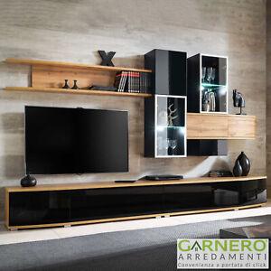 Dettagli su Parete attrezzata soggiorno CALETA rovere nero lucido tv  moderna led design