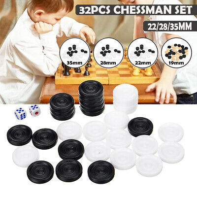 32Pcs Draughts/&Checkers/&Backgammon Chess Piece for Kids Board Game Camping