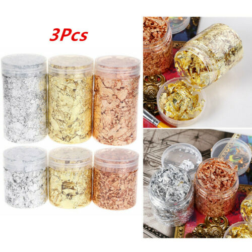 3Pcs Gilding Flakes Metallic Leaf for Jewelry Making Nails Gilding Painting Arts