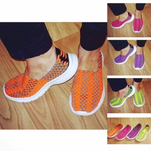 Ladies Girls Trainers Go Walk Slip On Comfort Stretch Mesh Multi Colour PESSOA