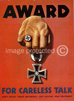 Award For Careless Talk WWii US Military Vintage 11x17 Poster