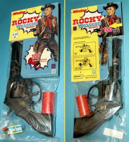 WICKE ROCKY WESTERN SPIELZEUG REVOLVER PISTOLE CAP GUN RARE OVP 80er 100 SCHUSS