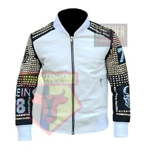 MOTORCYCLE-PLEIN-STYLE-1081-WHITE-STUDDED-COWHIDE-LEATHER-WESTERN-STYLE-JACKET
