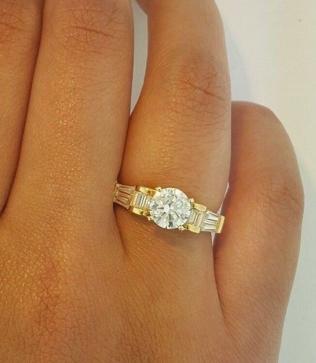 14k Solid Yellow gold 1.5 CT Diamond Engagement Ring Round Cut Solitaire
