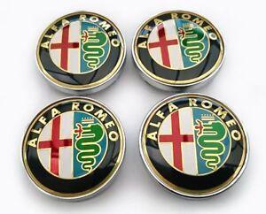 4-Tappi-Coprimozzo-ALFA-ROMEO-Gold-Giulietta-159-146-147-Brera-Fregi-CERCHI-60mm