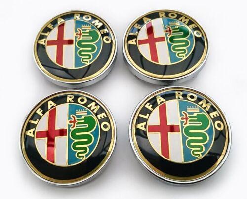 4 Tappi Coprimozzo ALFA ROMEO Gold Giulietta 159 146 157 Brera Fregi CERCHI 60mm