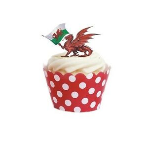 Edible Themed Cake Decoration : WELSH PARTY THEME WALES Edible cake party toppersx16 ...