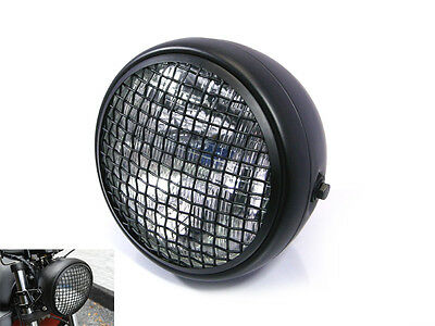 "7.7"" Black Mesh Grill H4 55W Retro Headlight for Triumph Cafe Racer Scrambler"