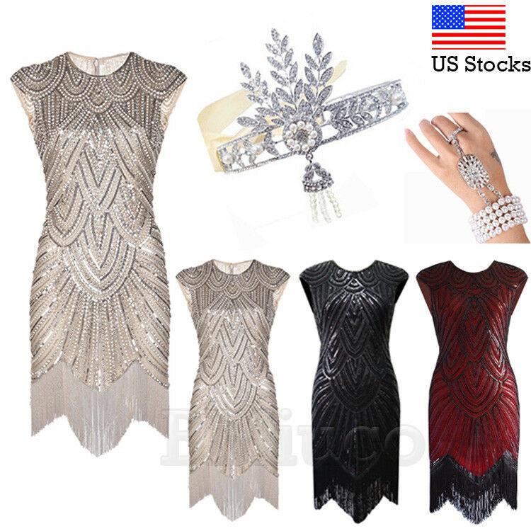 1920s Flapper Dress Great Gatsby Dresses Cocktail Evening Vintage Sequins Gown