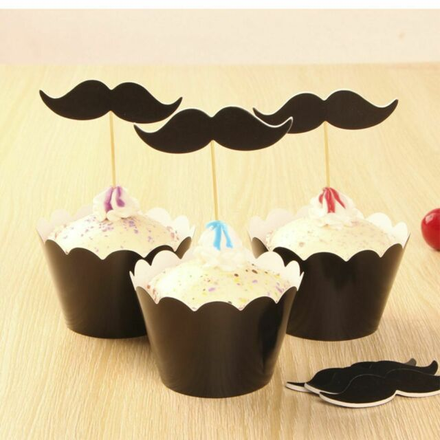 12 sets Fashion Birthday Party Cake Wrap Black Beard Cupcake Wrappers Toppers