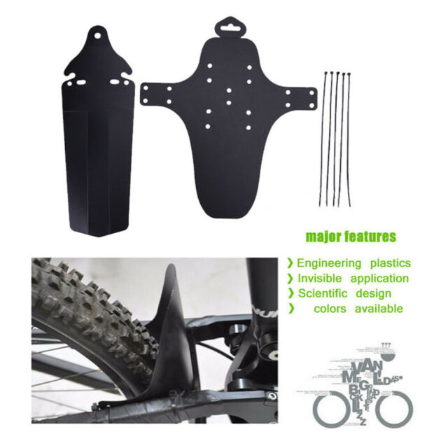 2pcs MTB Mudguard Set Mountain Bike Bicycle Fender Front /& Rear RideGuard Black
