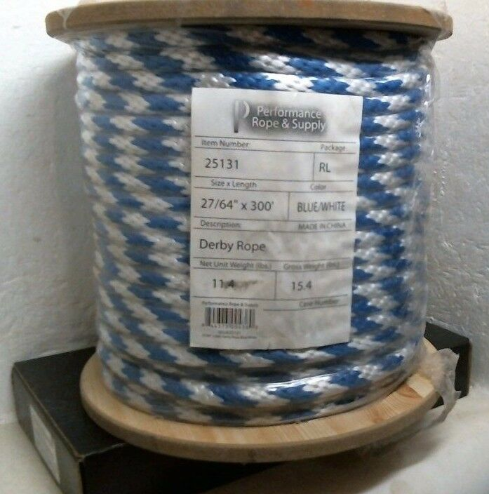 Performance Rope & Supply 25131 bluee White Derby Rope, 27 64 x 300', FREE SHIPP